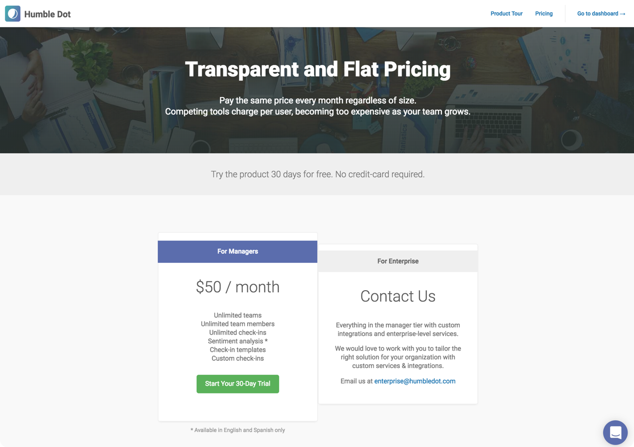 HumbleDot pricing: $50 per month