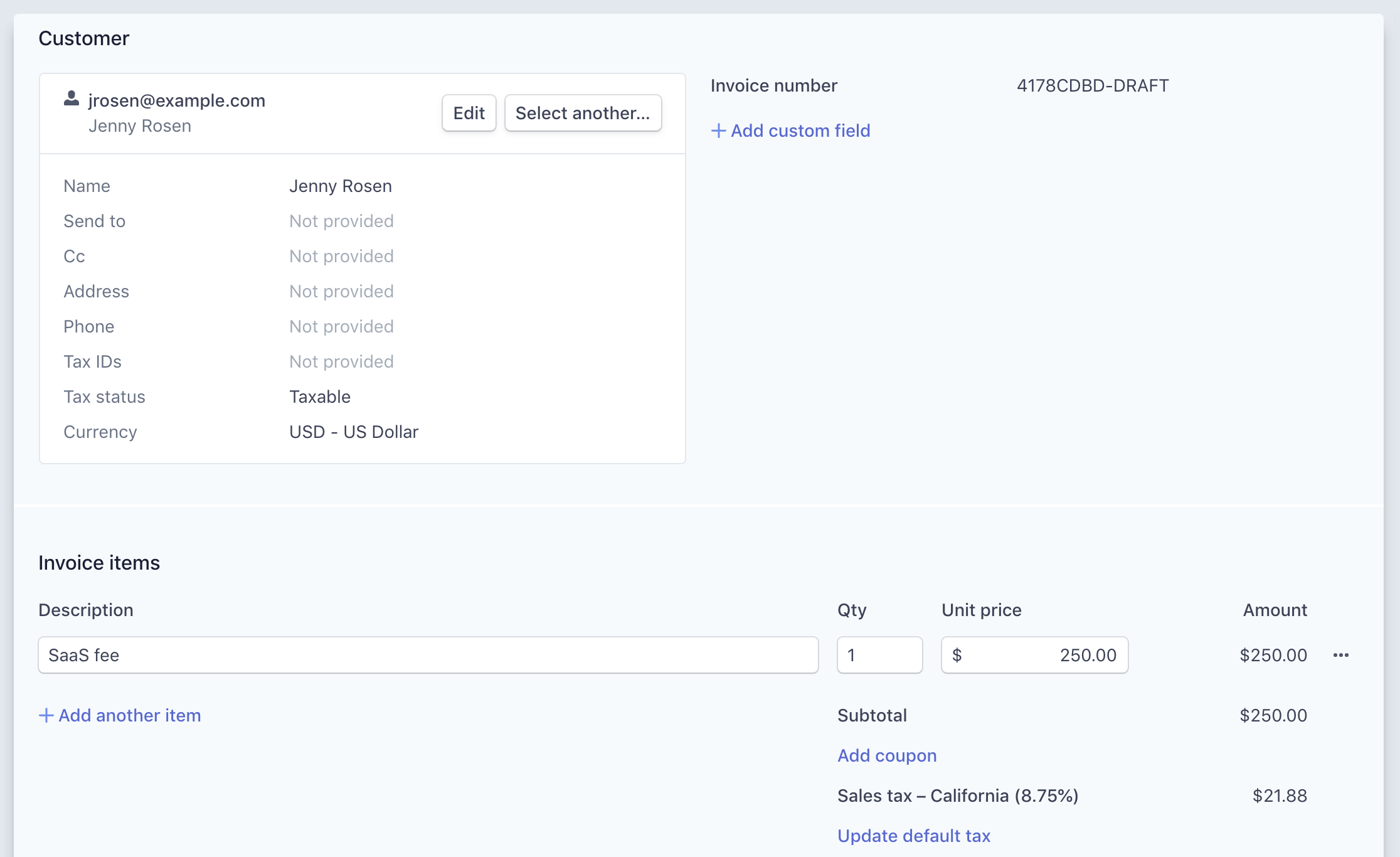 One-off Invoices | Stripe Billing